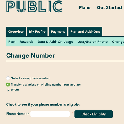 Porting number to Public Mobile