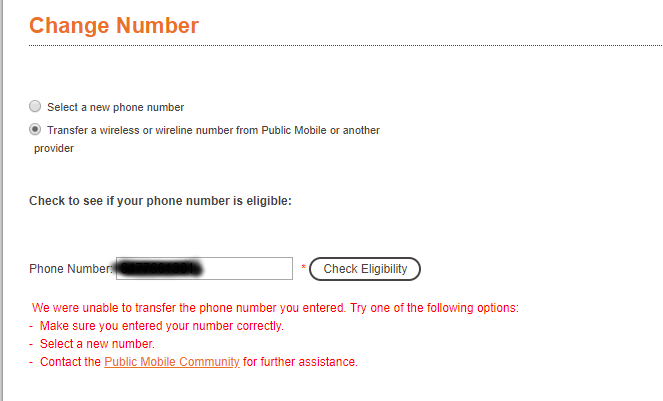 Unable to port chatr number to public mobile - Community